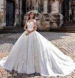 0025 A - Zeile Schutzkappen-Hülsen-Weinlese-Kathedrale-SerieSequinsappliques-Satin-Spitze-Hochzeits-Kleider