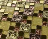 装飾の物質的なクリスタルグラスのモザイク・タイルの&Stainless鋼鉄(FYMG018)