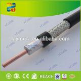 cabo coaxial contínuo do preto RG6 do condutor da condutibilidade de 18AWG CCS 21%