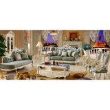 Mobilia del salone con il sofà di legno del tessuto impostato (510E)