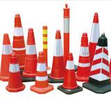 Красный померанцовый конус PVC безопасности движения для сложенного дорожного знака