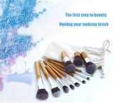 Cepillo de bambú durable del maquillaje de la maneta de 11 del PCS herramientas de la belleza con el bolso de lino
