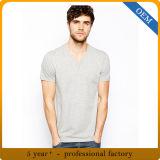T-shirt bon marché 100% ordinaire de collet du gris V du coton des hommes de modèle de prix usine