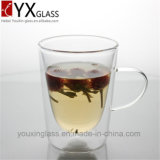 Handmade 크리스마스 두 배 벽 유리제 컵 /Eco-Friendly 우아한 디자인 두 배 벽 손잡이를 가진 유리제 에스프레소 커피잔