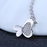 Collar pendiente Shaped embutido de la mariposa del Zircon de la plata esterlina de la manera de las mujeres