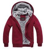 OEMのカスタム人は羊毛が付いている明白な冬の暖かいジッパーHoodiesを卸し売りする