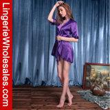 Lingerie sexy de robe longue de Stylel de kimono de satin du plomb des femmes avec la coupure de polarisation