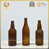Kundenspezifische dünne bernsteinfarbige Bierflaschen des Stutzen-500ml mit Kronen-Oberseite (061)