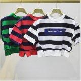 女性の縞の印刷の中間の袖によって収穫されるTシャツ