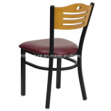 Restaurante del metal que cena las sillas, parte posterior de madera más asiento del vinilo
