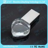 3D 로고를 가진 수정같은 심혼 모양 USB 섬광 드라이브 (ZYF1523)