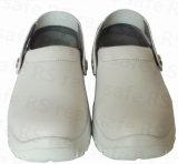 Zapatos de seguridad del cuero blanco para la enfermera, zapatos de seguridad del hospital (SNM6211)