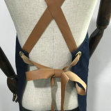Tablier de travail de denim de tablier de dos de croix de mode avec la longue courroie en cuir