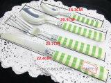 Drucken-Muster 24PCS Plastikgriff-Tischbesteck-Gabel-Löffel-Messer