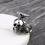 フクロウが付いている316L頭骨のステンレス鋼のリングの宝石類