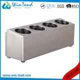 Support occidental commercial de panier de vaisselle plate de réseaux du montant trois d'acier inoxydable