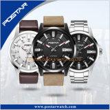 Reloj permutable de la correa de cuero de los militares de la empresa del estilo del deporte