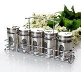 Vaso/bottiglie di vetro della spezia dell'articolo da cucina della cristalleria con le cremagliere del metallo