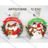 Decoración casera Santa y Snowmand Doorknob-3asst de la Navidad