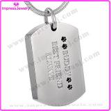 Hundeplakette-hängende Urne-Erinnerungshalskette für Haustier (IJD8022)