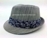 Шлем Fedora с сплетенной тканью на раковине и напечатанной полосе (YGF044)