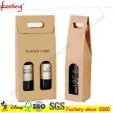 Het Verschepen van de Wijn van het GolfKarton van Kraftpapier van de Douane van de fabriek de Bruine Levering voor doorverkoop van de Doos met Venster