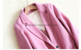 Capa de polvo de lana del 100% de la mujer rosada