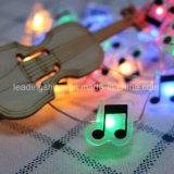 Fil de cuivre étincelant Éclairage étoilé pour jardin Patio et fête Blanc chaud Notes de musique en forme