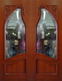 유리 (DS-006)를 가진 단단한 나무 양쪽으로 여닫는 문