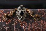 Anillo de plata antiguo retro de la resina del negro del color de los accesorios de las mujeres de la manera para las mujeres