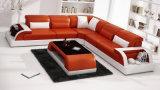 Weißes Leder-Schnittsofa stellte mit LED-Licht ein (HC1093)