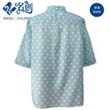 Camicia verde delle signore di modo del Posteriore-Tasto del Metà di-Manicotto del collare del basamento