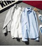 Personalizar la camisa de cuello redondo de alta calidad de manga larga de tela Oxford del hombre