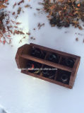 Costume Tote de madeira da cerveja do vintage de 6 blocos com abridor