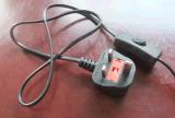 Het Koord van de macht voor Kabel met Britse van de Houder van de Lamp van de Schakelaar Stop