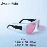 Protezione degli occhi del laser degli occhiali di protezione del laser di registrazione Atd 740-850nm per il laser poco costoso delle attrezzature mediche, laser del Alexandrite, rimozione dei capelli di Remova dei capelli