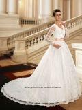 Платья венчания Wd003 мантий шарика шнурка втулки V-Шеи Applique длинние