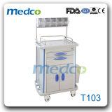 Carro do tratamento de hospital, trole de aço da medicina dos cuidados para o uso médico