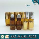 Glasrolle des bernsteinfarbigen Duftstoff-3ml auf Flasche mit Goldschutzkappen-und -Edelstahl-Rollen-Kugel
