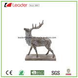 Figurine головки оленей Polyresin серебряный с основанием для домашнего украшения