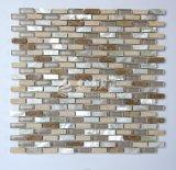 Shell de agua dulce 10*30 y mosaico del vidrio de mármol y cristalino
