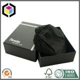 Cadre de empaquetage de papier de clinquant de logo de T-shirt rigide noir épais de carton
