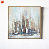 Pittura a olio di paesaggio urbano della maschera della parete di architettura
