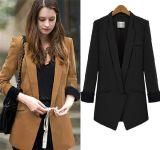韓国様式の中型の長さの女性軽くて柔らかいオフィスのブレザーのスーツのコート