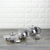 Glass with Stainless Steel with Strainer Coffee Pot (FT-01308)
