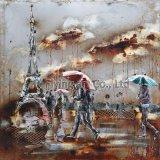 雨の日のパリタワーが付いている景色の油絵