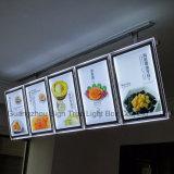 결정 LED 가벼운 상자를 광고하는 호리호리한 알루미늄 대중음식점 메뉴