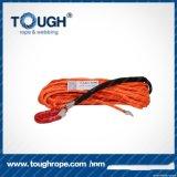 빨간 합성 물질 UHMWPE 윈치 밧줄 10mmx28moff 도로 차 윈치 밧줄