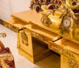 Сень кровати плаката короля Размера Золотист Дворца 4 твёрдой древесины с высекано