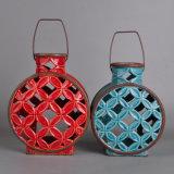 Porte-bougie en céramique vitrée à la main classique avec poignée métallique